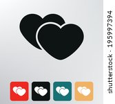 two hearts icon.   Shutterstock .eps vector #195997394