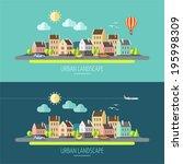 flat design urban landscape... | Shutterstock .eps vector #195998309