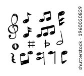 music notes hand drawn vector...   Shutterstock .eps vector #1960020829