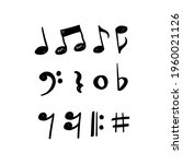 music notes hand drawn vector...   Shutterstock .eps vector #1960021126
