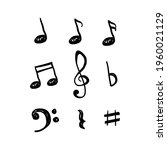 music notes hand drawn vector...   Shutterstock .eps vector #1960021129