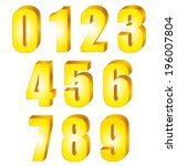 3d shiny yellow gold numbers.... | Shutterstock .eps vector #196007804