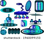 topics of space research. a set ... | Shutterstock .eps vector #1960099153
