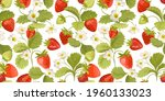 watercolor seamless strawberry... | Shutterstock .eps vector #1960133023