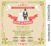 wedding invitation design... | Shutterstock .eps vector #196016456