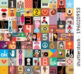 art collage of many different... | Shutterstock .eps vector #196020953