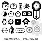 black isolated clock icon on... | Shutterstock .eps vector #196023953