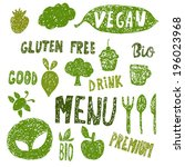 hand drawn organic food labels... | Shutterstock .eps vector #196023968