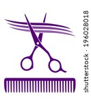 hair salon icon with scissors... | Shutterstock .eps vector #196028018