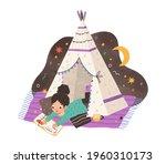 child reading book in homemade...   Shutterstock .eps vector #1960310173