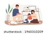 parents helping to pack school... | Shutterstock .eps vector #1960310209