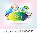 stylish text summer brazil... | Shutterstock .eps vector #196036058