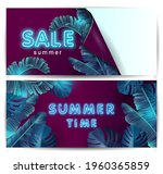 a set of banners with neon text ... | Shutterstock .eps vector #1960365859