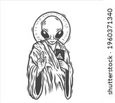 an alien. ufo. can be used as... | Shutterstock .eps vector #1960371340