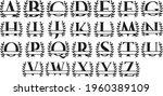 split monogram alphabet with... | Shutterstock .eps vector #1960389109