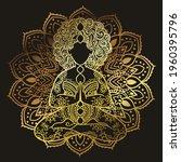 golden plus size yoga girl.... | Shutterstock .eps vector #1960395796