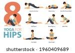 infographic 8 yoga poses for... | Shutterstock .eps vector #1960409689