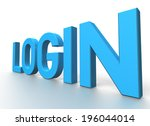 3d rendering of login blue...