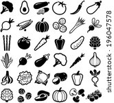 vegetables icon collection  ... | Shutterstock .eps vector #196047578