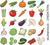 vegetables icon collection  ... | Shutterstock .eps vector #196047596