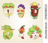 food faces | Shutterstock .eps vector #196048013