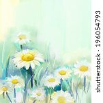 Oil Painting Daisy Flowers In...