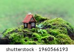 Toy House On Moss  Green...