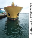 Small photo of Sorong, West Papua, Indonesia, April 22nd 2021. The bow of forecastle of vessel ship
