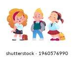 happy school kids group with...   Shutterstock .eps vector #1960576990