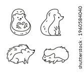 set of cute funny little...   Shutterstock .eps vector #1960584040