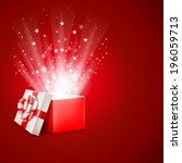 open magic gift box with shine | Shutterstock .eps vector #196059713