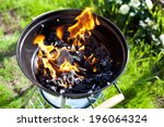 Hot Burning Charcoal  Grill On...