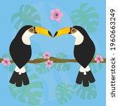 a cute couple of toco toucans...   Shutterstock .eps vector #1960663249