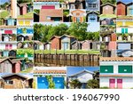 collage of colored fishermen's... | Shutterstock . vector #196067990