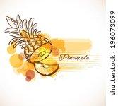 pineapple sketch. vector... | Shutterstock .eps vector #196073099