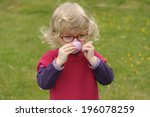 little toddler playing  tea... | Shutterstock . vector #196078259