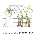 hand drawn watercolor...   Shutterstock . vector #1960791220