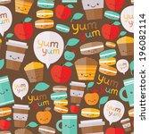 cute food seamless pattern.... | Shutterstock .eps vector #196082114