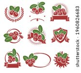 cranberry label and icons set.... | Shutterstock .eps vector #1960826683