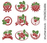 cranberry label and icons set.... | Shutterstock .eps vector #1960826686