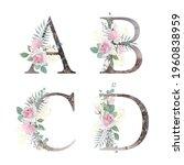 floral alphabet. set letters... | Shutterstock .eps vector #1960838959