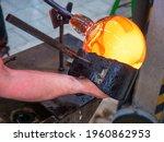 Glassblower Is Using Wet Wooden ...
