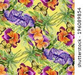 wild flowers seamless pattern... | Shutterstock . vector #196089854