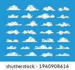 set of vector flat clouds. blue ... | Shutterstock .eps vector #1960908616