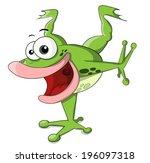 cute cartoon frog is a acrobat