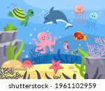 seabed with mammals  underwater ...   Shutterstock .eps vector #1961102959