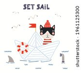 cute cat sailor on paper boat ...   Shutterstock .eps vector #1961125300