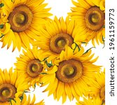 seamless pattern with sunflower ... | Shutterstock . vector #1961159773