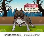 Illustration Of A Pit Bull Dog...