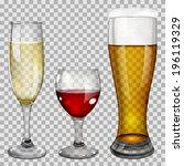 three transparent glass goblets ... | Shutterstock .eps vector #196119329